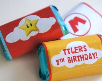 Super Mario Birthday Party | Super Mario Birthday | Super Mario Mini Candy Wrappers | Super Mario Birthday Party Decorations | LuluCole