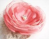 Flower hair clip brooch Coral pink Bridal hair accessory Bridesmaid Flower for sash