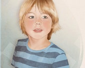 Custom Illustrated Child Boy or Girl Portrait Digital Format Original Sketch