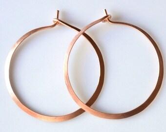 Solid Rose Gold Hoop Earrings - Hammered Hoops 1 1/2 Inch