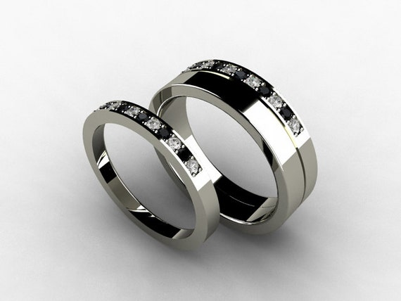 Unavailable listing on etsy for Black diamond wedding rings for women