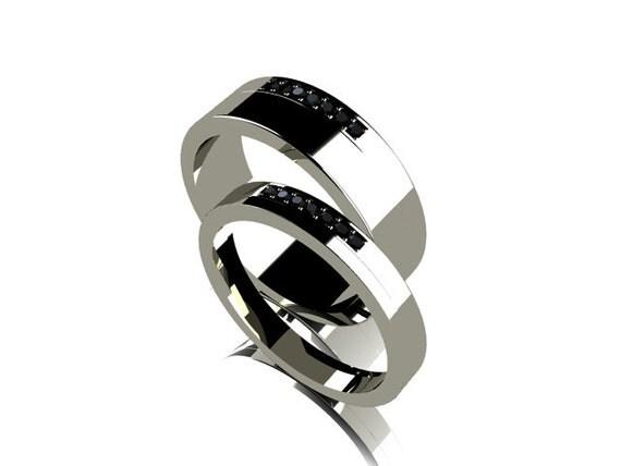 wedding band set black diamond ring titanium wedding band men