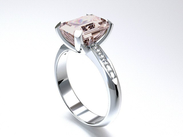 morganite engagement ring white gold emerald by
