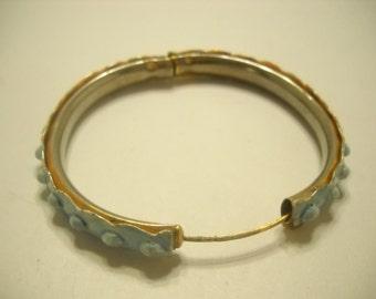 Viintage Light Blue Enamel Bangle Bracelet (3143)