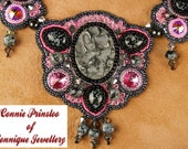 Grey Pink Bead Embroidered Necklace