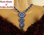 Blue and Silver Bead Embroidered Necklace