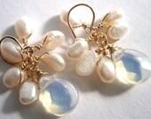 Opal Glass Moonstone and Pearl Earrings, Freshwater White Pearl Earrings, Gold Filled White Pearl Earrings - IOStudio