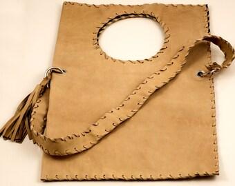 Tan Leather Bag - Handmade Geometric Messenger Bag