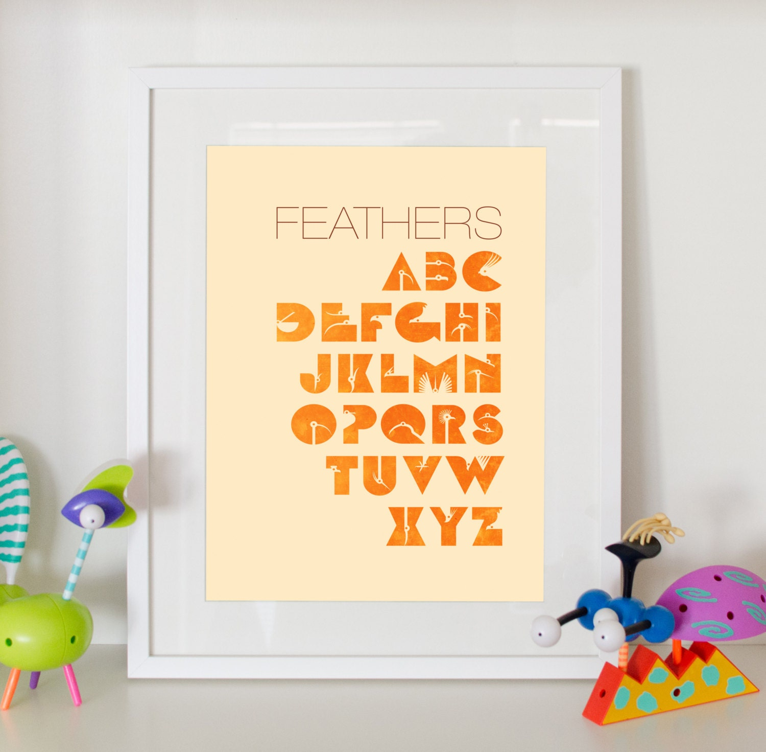 Alphabet Print Feathers Home Decor Nursery Birds Abc Poster