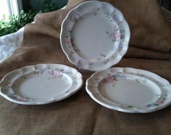 Lovely Trio of Pfaltzgraff Tea Rose Dessert, Tea, or Bread  Butter Plates