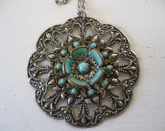 vintage. NECKLACE. silver. COSTUME. turquoise. BOHO. 1970s.
