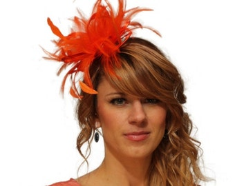 Orange Satin Feather Fascinator Hat - wedding, ladies day - choose any colour feathers & satin