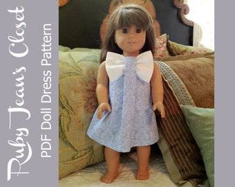 """Aubrey 18"""" Doll Dress PDF Sewing Pattern, American Girl Doll Clothes, American Girl Dress Pattern"""