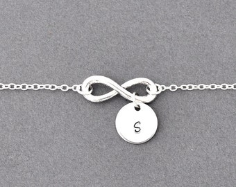 Silver infinity initial Necklace, everyday Necklace, infinity jewelry, everlasting lover, enternity, gift for BFF