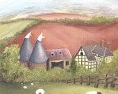 Hop Barns and Sheep, Cute & Whimsical Greetings Card Blank inside.
