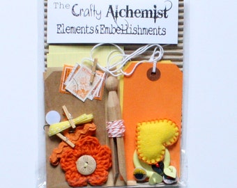 SALE 25% OFF - Oranges and Lemons - Elements & Embellishments Craft Kit