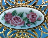 Brooch, Pin, Beautiful Avon Brooch with Pink Roses on a Ceramic Tile.