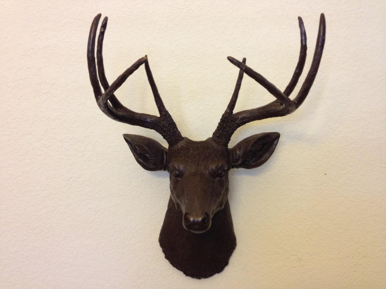 Faux Deer Head Hunting Trophy With Antlers Brown By
