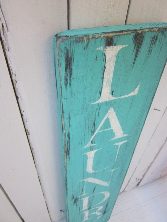 Items similar to laundry room sign turquoise distressed for Handmade things for room