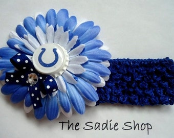 Indianapolis Colts Inspired Flower Headband - Colts Boutique Bow