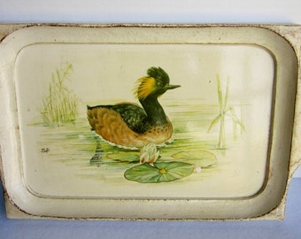 Vintage Handpainted Wooden Duck Tray