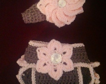 Baby Girl Crochet Diaper Cover and Headband Set  Photo Prop Shower Gift