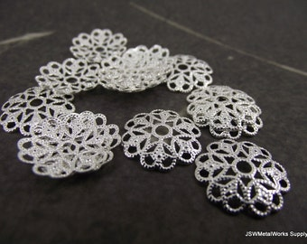 Silver Plated Filigree Rounds, 15mm, 50 Pieces