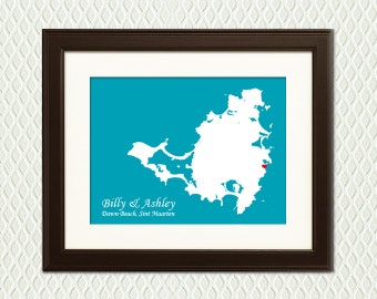 St Martin - Decoration for a Destination Wedding or Honeymoon - Map with a Heart