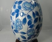 Vintage Blue and White Ceramic Egg Camellia Flower Design on Wood Base