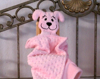 Minky Snuggle Pal Pink Puppy Blankie for Baby
