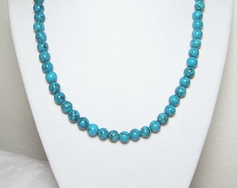 Beaded Turquoise Necklace Round Blue Beads