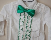 baby boy Vintage Ruffle Tuxedo dress shirt with bow tie - size 12 months - St. Patrick's Day