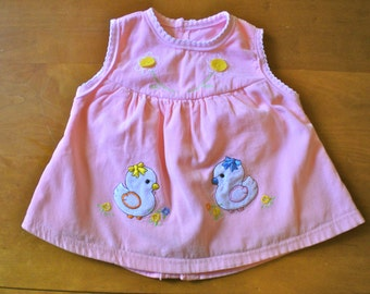 SALE Vintage Pink Corduroy Chick Dress (baby)