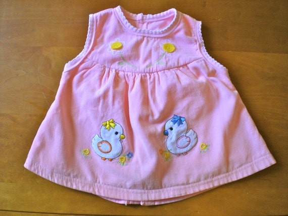 SALE Vintage Pink Corduroy Chick Dress (baby)