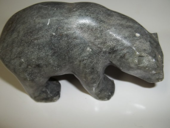Hand carved stone bear native american fathers day