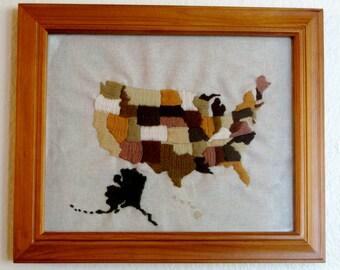 USA Map, Embroidered Crewel Wool