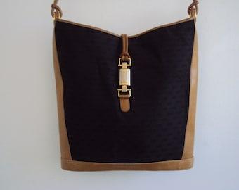 GUCCI Black & Tan Handbag 1980s Vintage