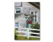 GRAY FARMHOUSE with BLUEBIRD Landscape Photography, Rustic Architecture, Shabby Chic
