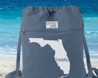 Florida FL Roots Canvas Backpack Cinch Sack