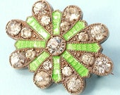 Antique/ estate Art Deco 1930s/ 40s gilt metal, paste/ rhinestone and lime green, guilloche enamel, lace pin/ brooch