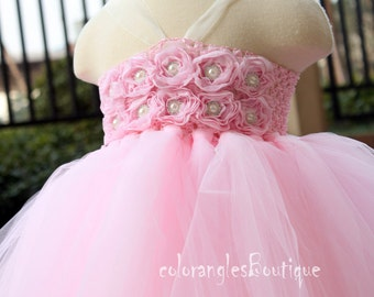 Pink tutu dress Flower Girl Dress baby dress toddler birthday dress wedding dress 1T 2T 3T 4T 5T 6T