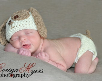 Crochet Puppy Hat and Diaper Cover Pattern