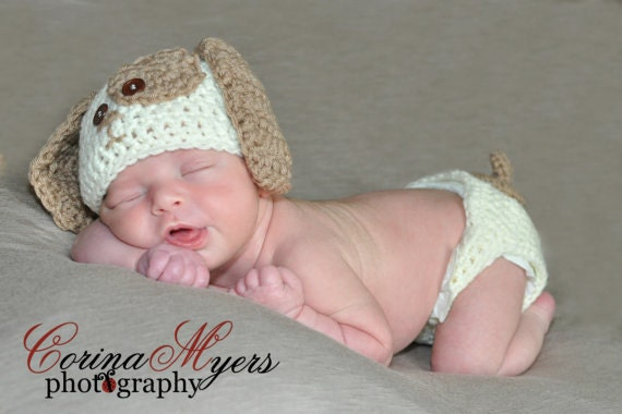 Crochet Dog Hat And Diaper Cover Pattern : Crochet Puppy Hat and Diaper Cover Pattern by ...