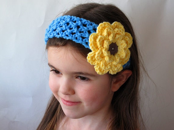 items similar to blue crochet headband with yellow items similar to blue crochet headband with yellow