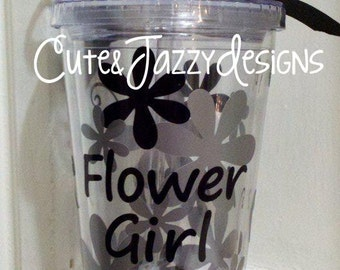 Personalized Flower Girl, Clear, Acrylic, BPA Free Cup with Straw