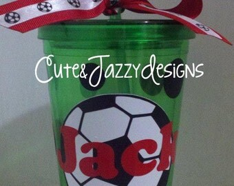 Personalized 16 oz, Soccer, Acrylic, BPA Free, Tumbler with Straw