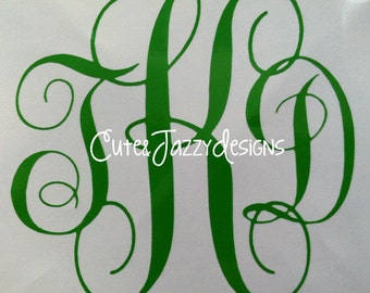 Personalized 3 Letter Vine Monogram Vinyl Decal