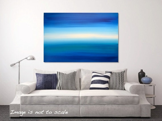 Large Abstract Painting Modern Acrylic Canvas Seascape Wall Art Decor  - Blue Sky, Turquoise Ocean, White Glow 30 x 20 - Oceania