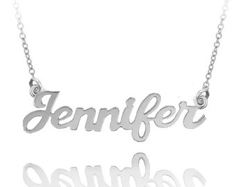 10K Solid Yellow, White or Rose Gold Personalized Name Necklace (Order Any Name) -  Custom Made Jewelry
