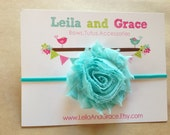 Aqua Blue Shabby Chic Flower Headband-Baby Headband, Toddler Headband, Newborn Headband
